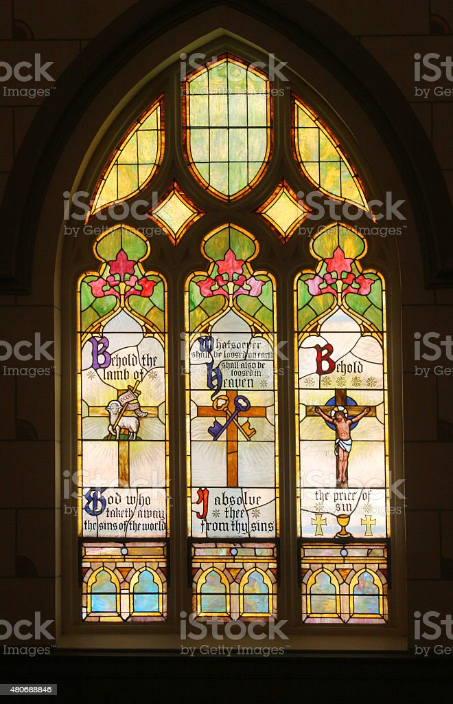 Stained Glass Panels in an Old Church stock photo