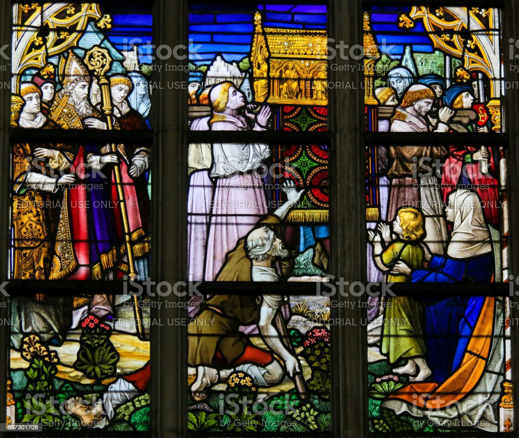 Stained Glass - Procession stock photo