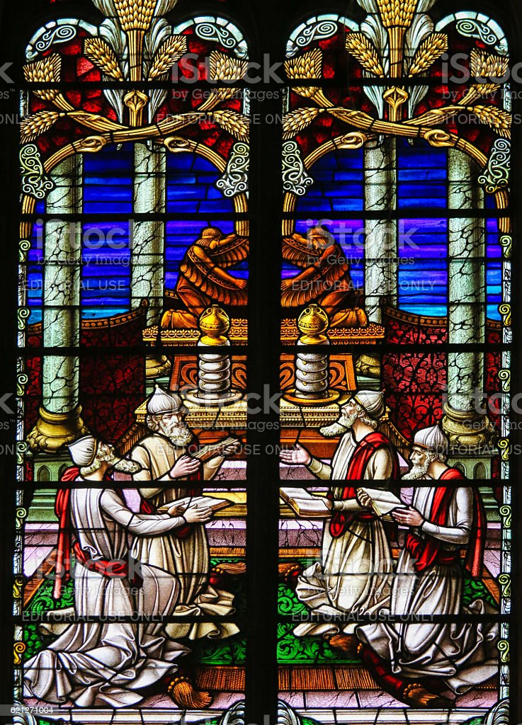 Stained Glass - Rabbis worshipping God stock photo