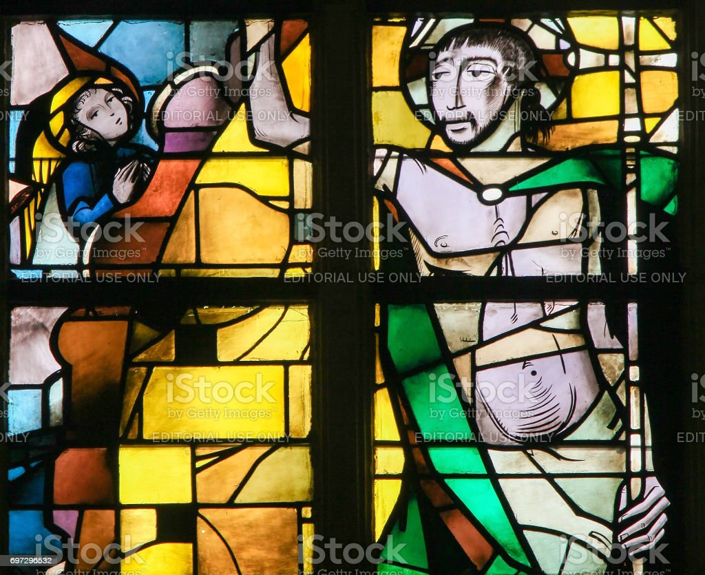 Stained Glass - Resurrection of Jesus Christ stock photo