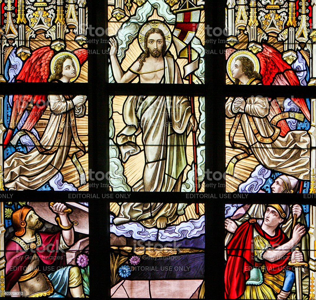 Stained Glass - Resurrection of Jesus stock photo