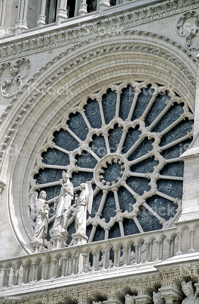 Stained Glass Rose of Notre Dame Cathedral, Paris, France royalty-free stock photo