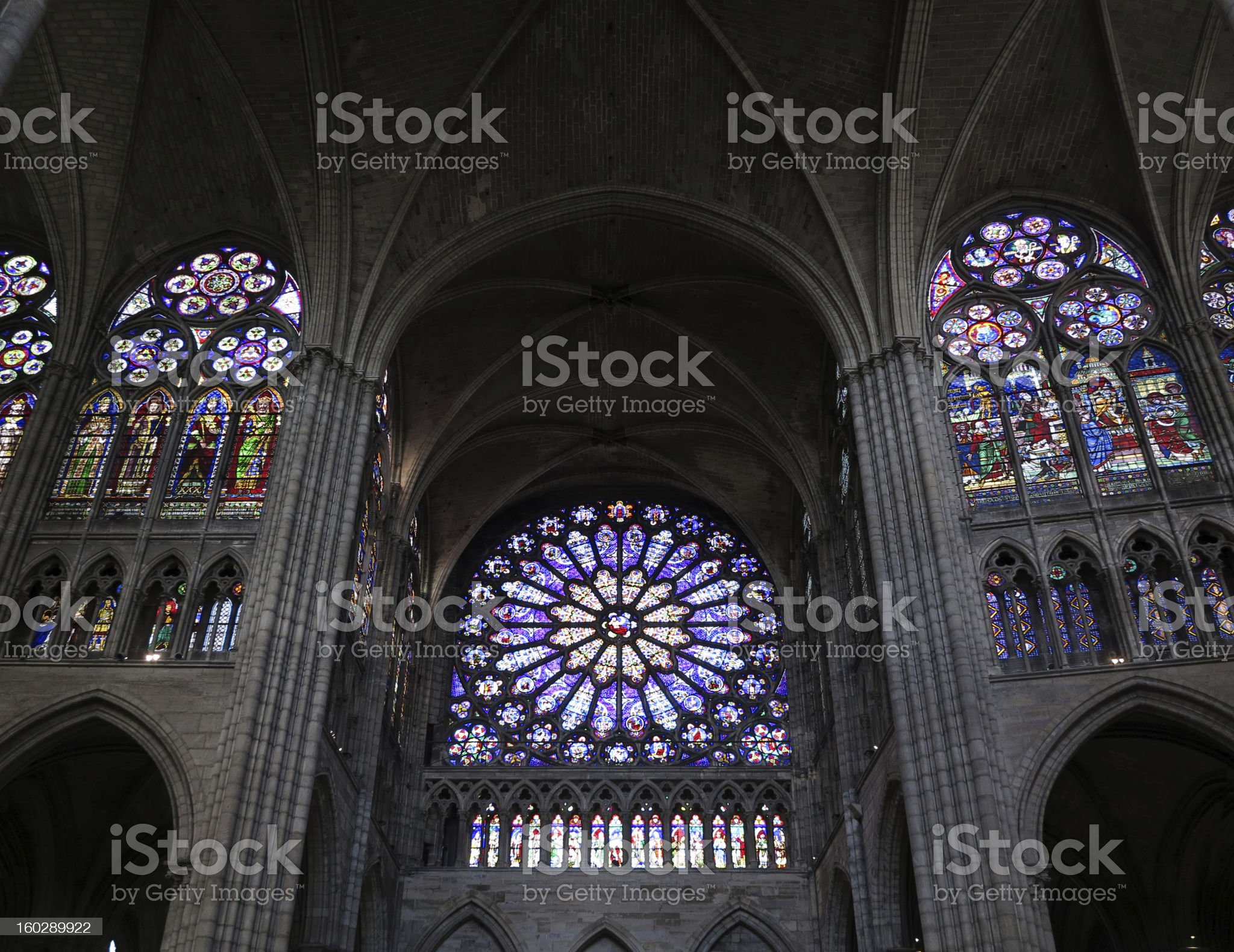 Stained glass rose window, Paris France royalty-free stock photo