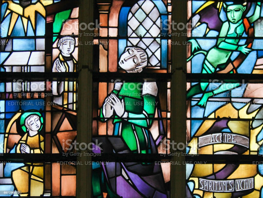 Stained Glass - Sacrament of Penance or Confession stock photo