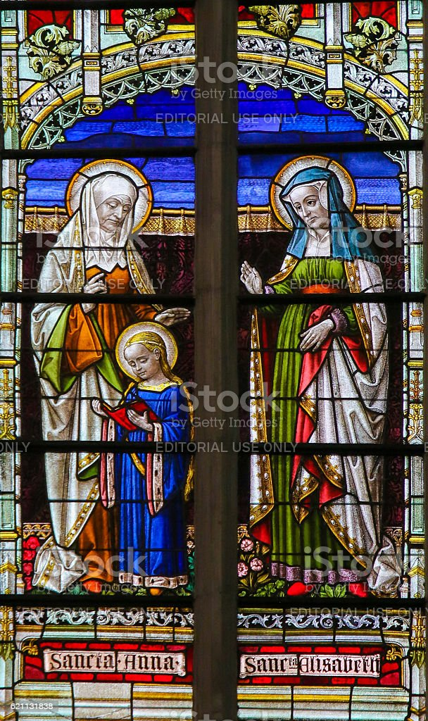 Stained Glass - Saint Ana and Saint Elisabeth stock photo