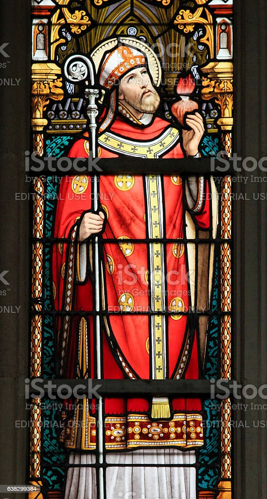 Stained Glass - Saint Augustine stock photo
