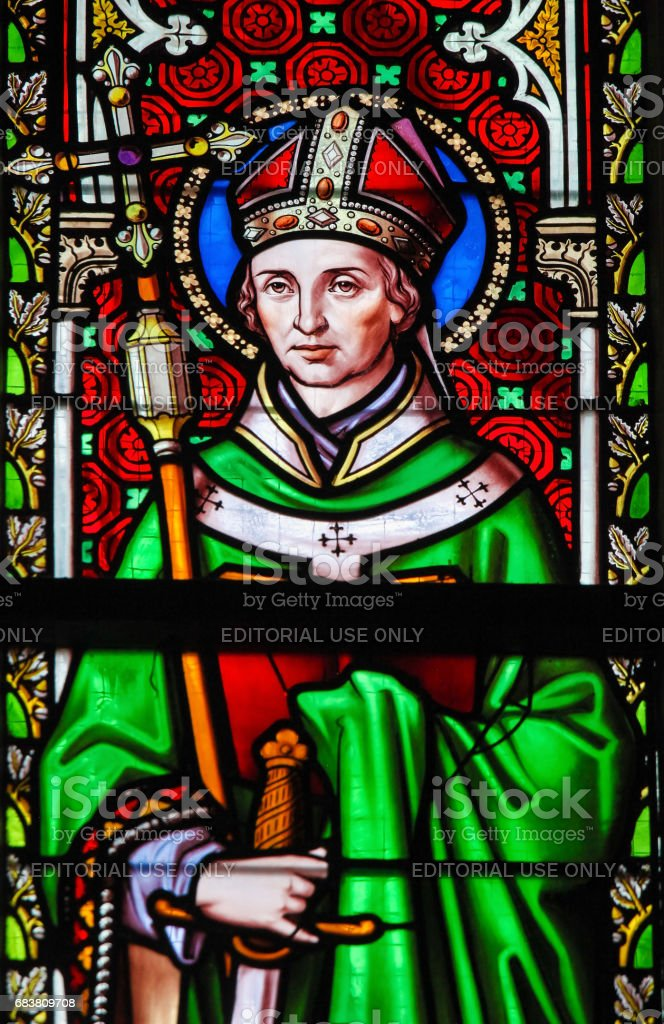 Stained Glass - Saint Eugene stock photo