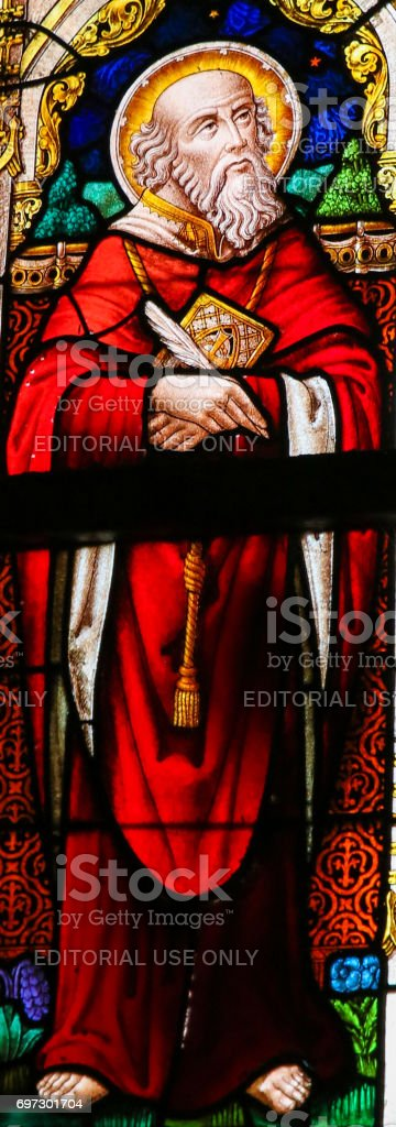 Stained Glass - Saint Jerome stock photo