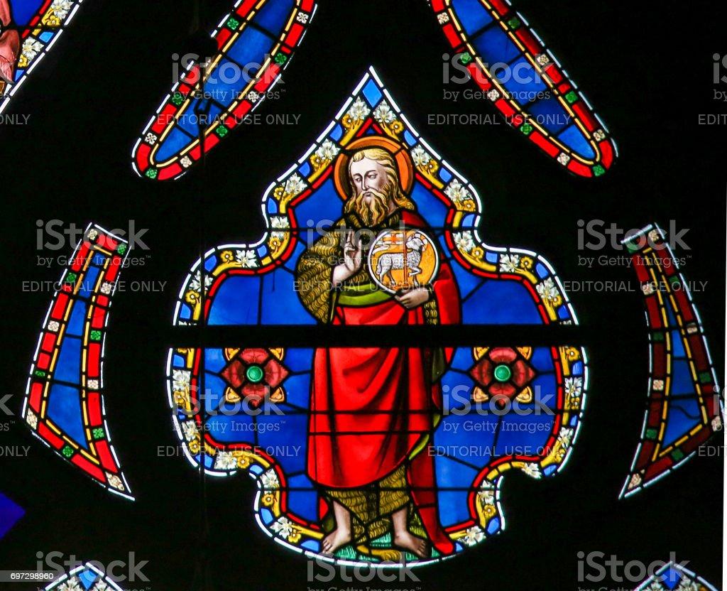 Stained Glass - Saint John the Baptist stock photo