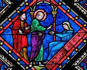 Stained Glass - Saint John the Evangelist and Mother Mary