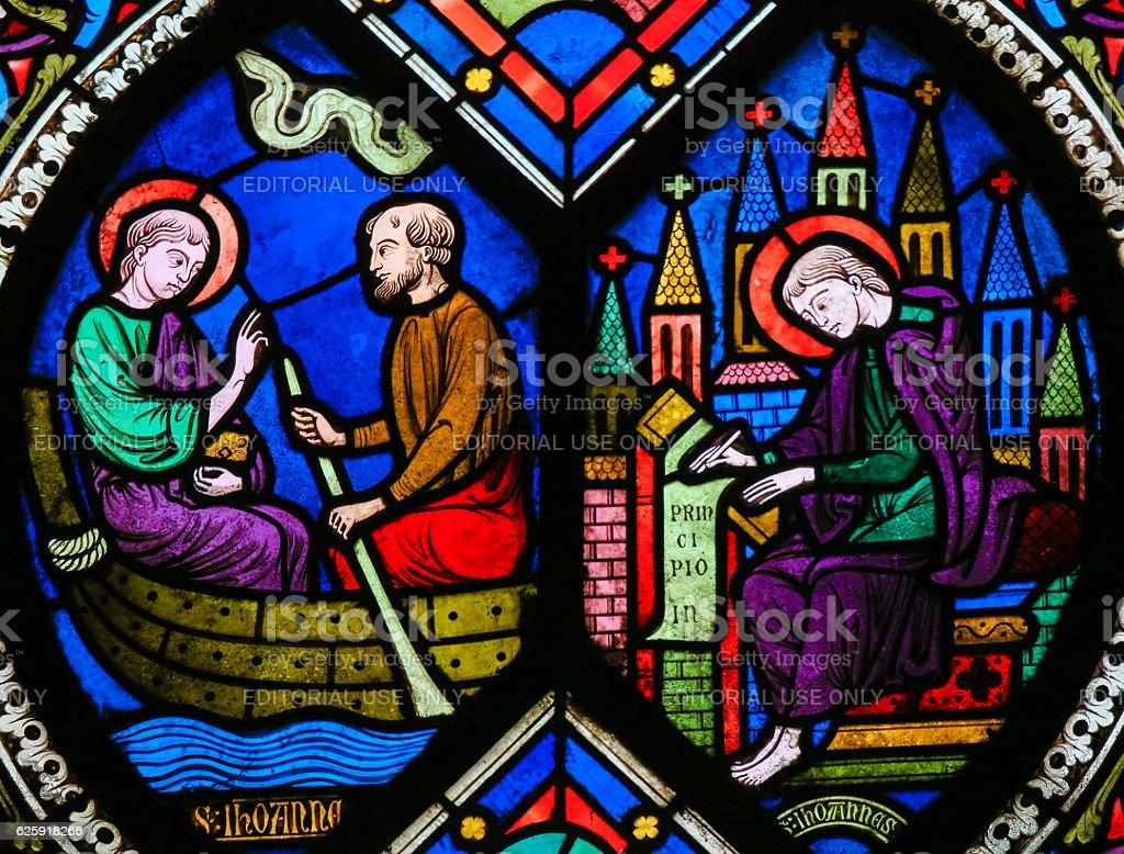 Stained Glass - Saint John the Evangelist stock photo