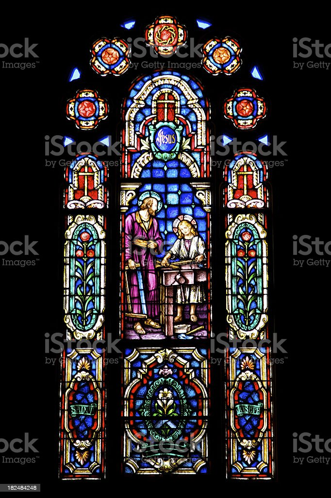 Stained Glass - Saint Joseph and Jesus royalty-free stock photo