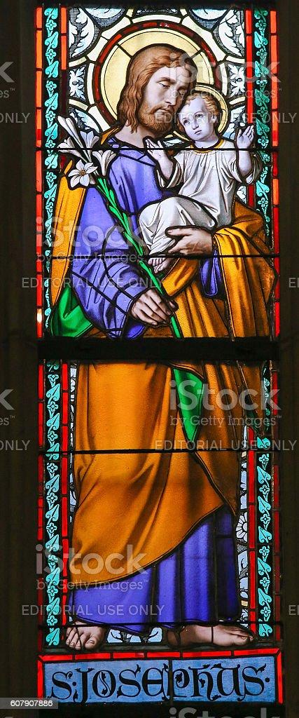 Stained Glass - Saint Joseph stock photo