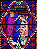 Stained Glass - Saint Manveus or Manvieu, ordinated