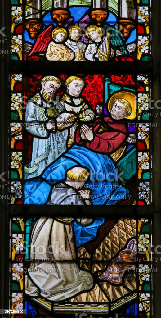 Stained Glass - Saint on his Deathbed stock photo