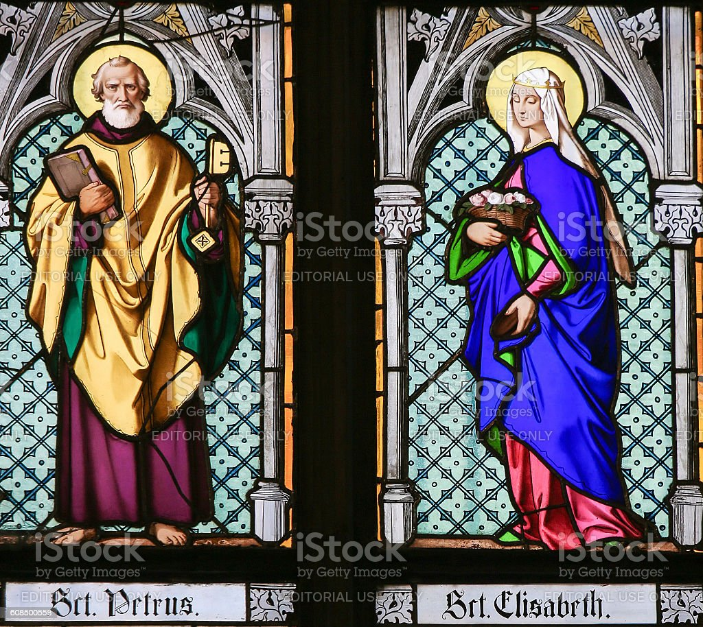 Stained Glass - Saint Peter and Saint Elisabeth stock photo