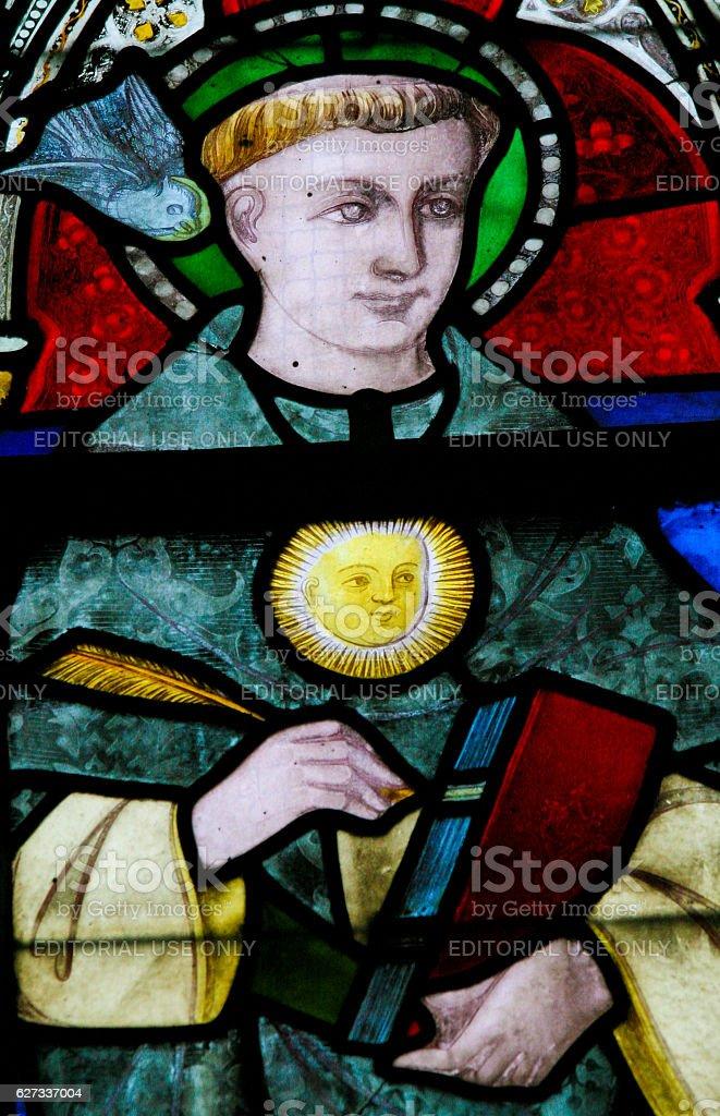 Stained Glass - Saint Thomas Aquinas stock photo
