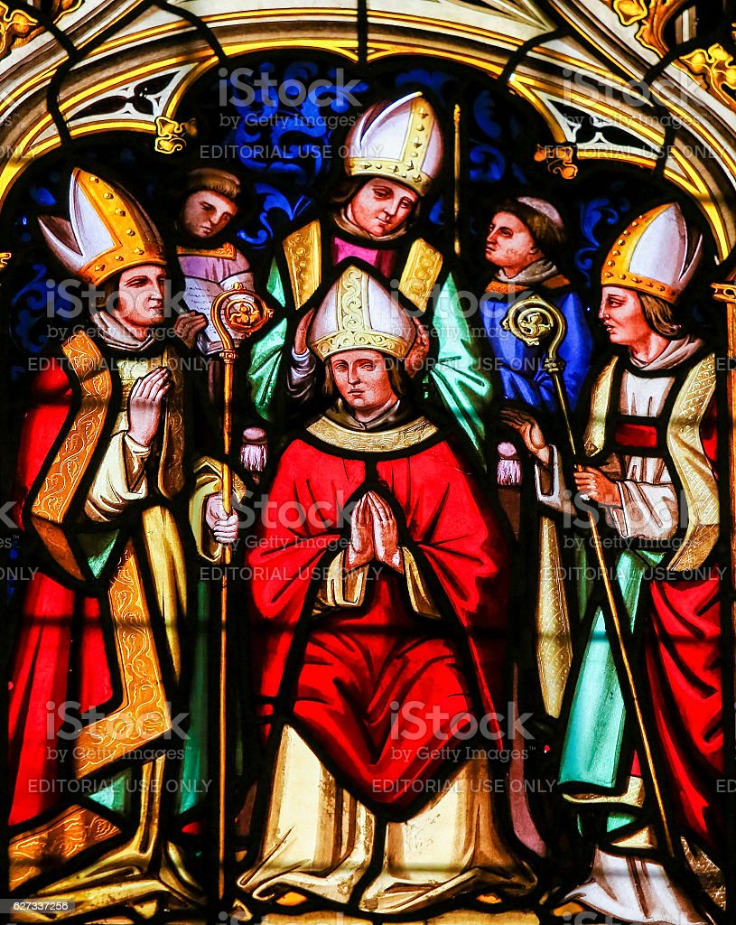 Stained Glass - Saint Vigor in the Cathedral of Bayeux stock photo
