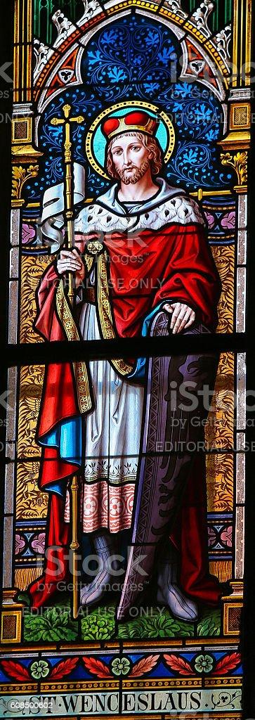 Stained Glass - Saint Wenceslas stock photo