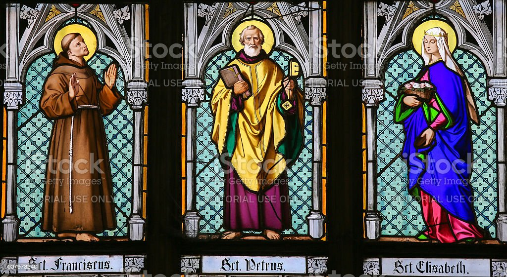Stained Glass - Saints Francis, Peter and Elisabeth stock photo