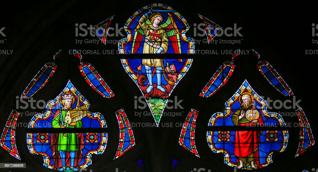 Stained Glass - Saints Michael and John the Baptist stock photo