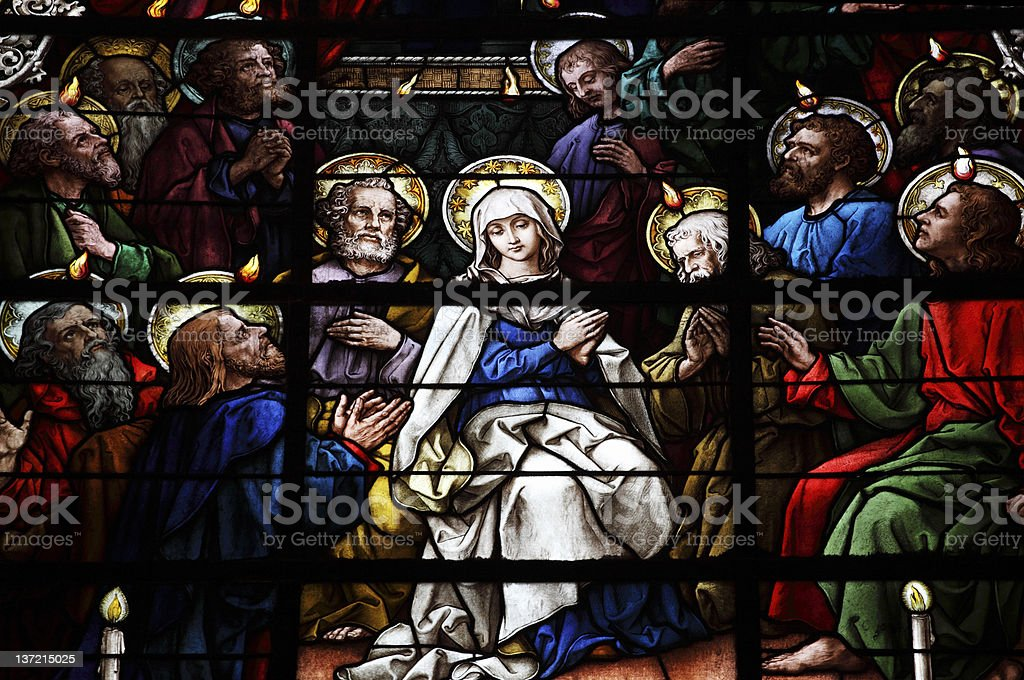 Stained Glass showing pentecost scene royalty-free stock photo