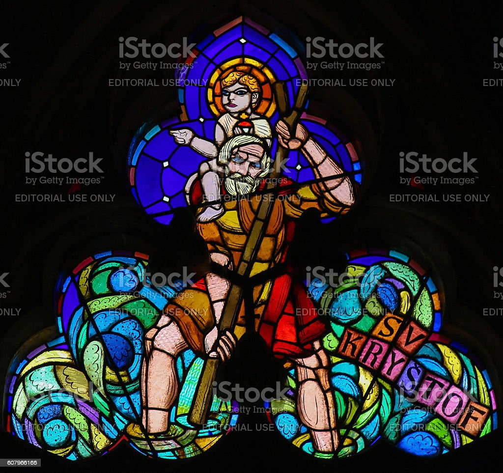 Stained Glass - St Christopher Carrying the Christ Child stock photo
