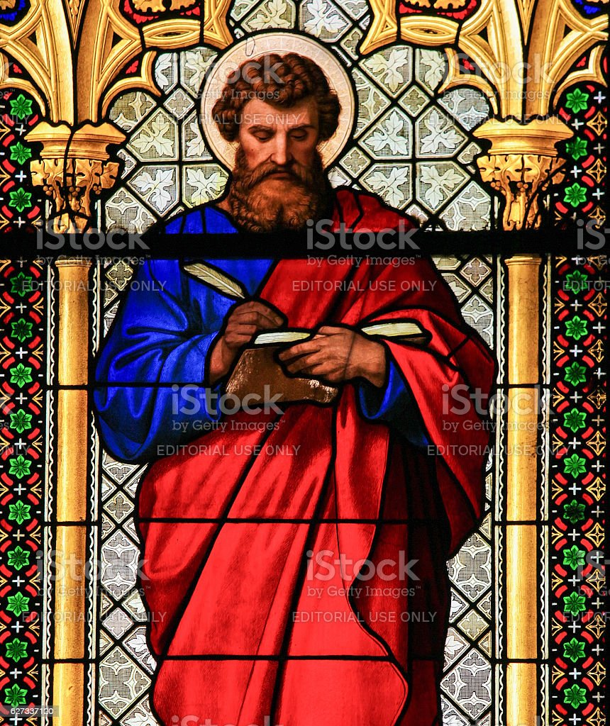 Stained Glass - St Mark the Evangelist stock photo