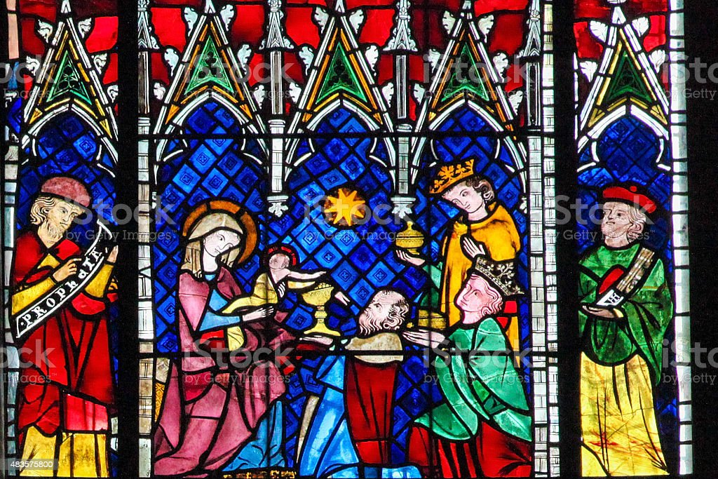 Stained Glass - the Adoration of the Magi stock photo