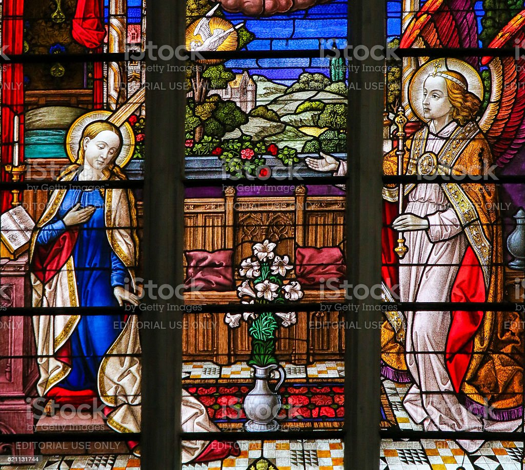 Stained Glass - the Annunciation stock photo