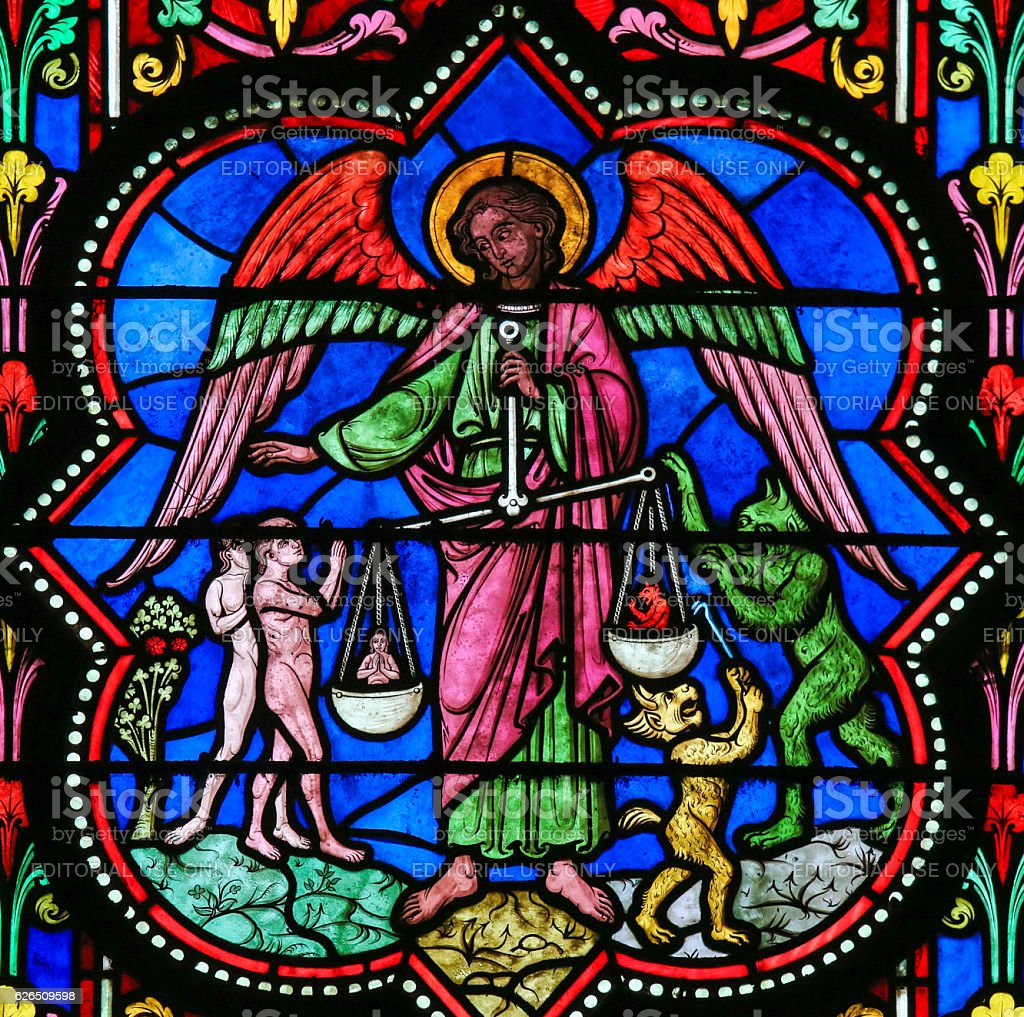 Stained Glass - the Archangel Michael stock photo