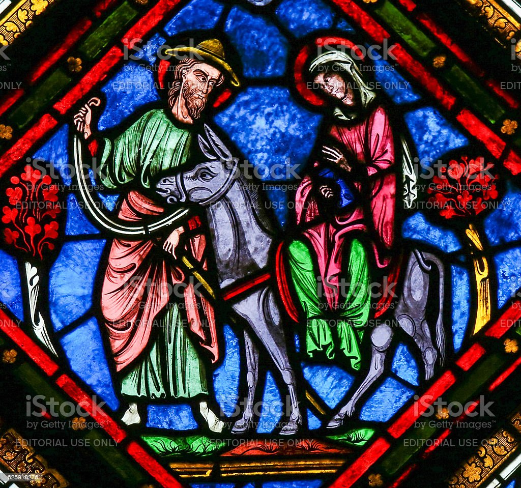 Stained Glass - The Flight to Egypt stock photo