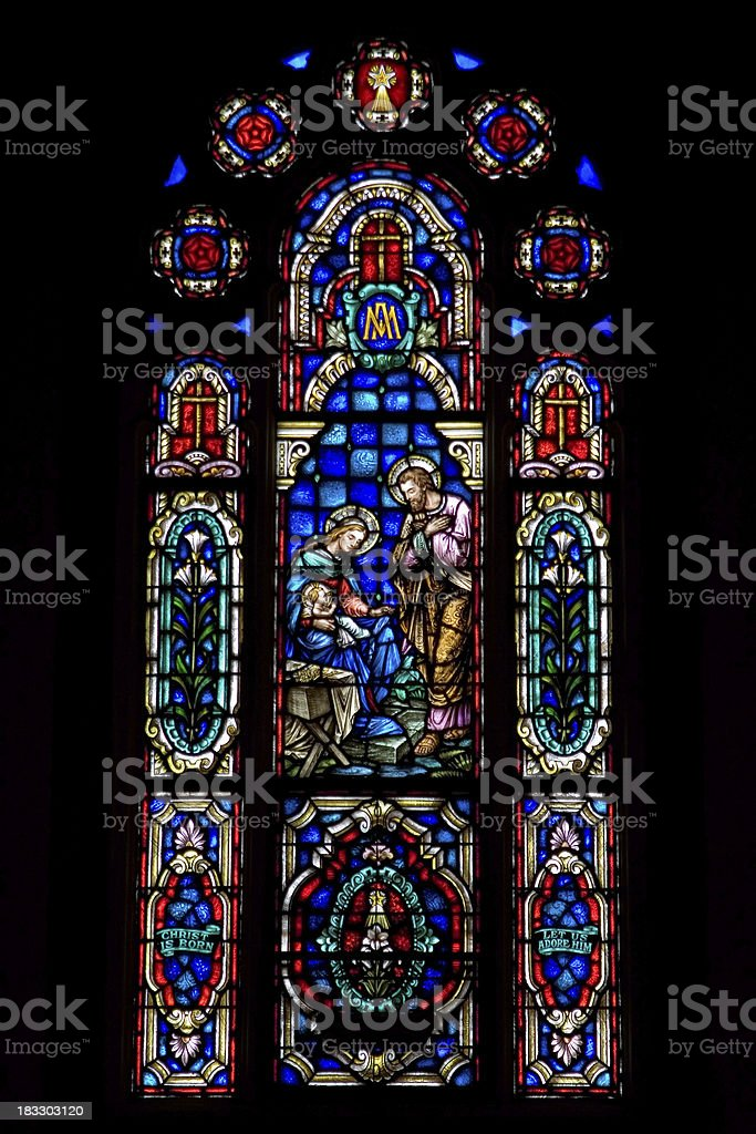 Stained Glass - The Holy Family royalty-free stock photo