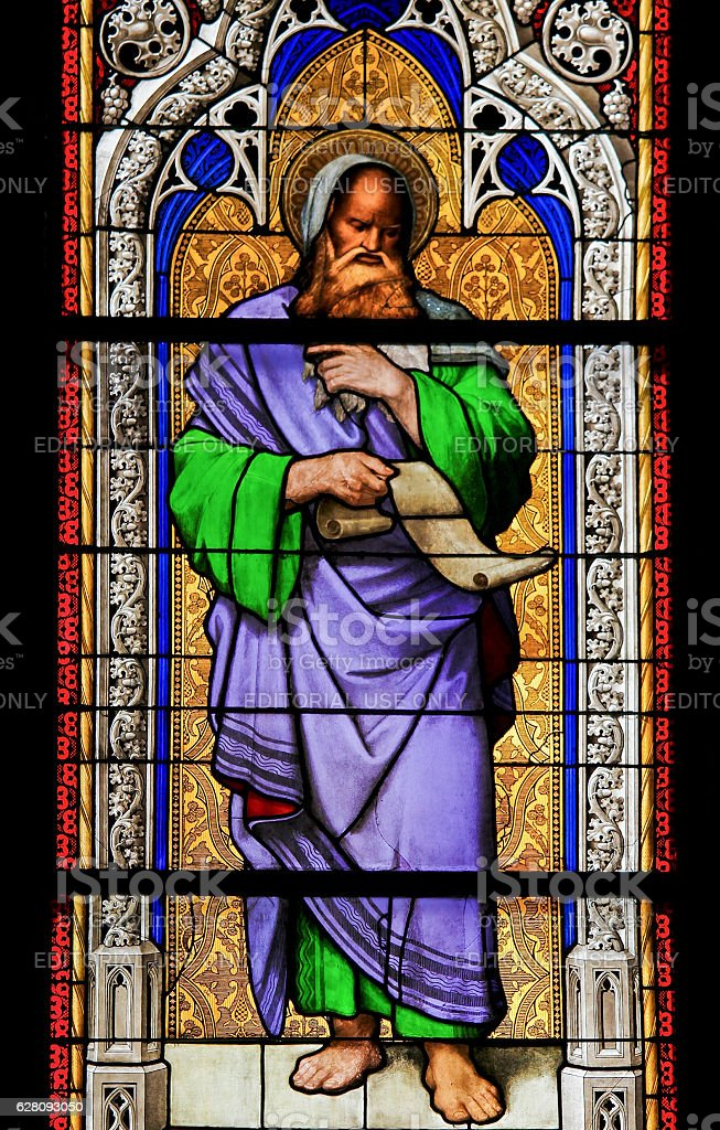 Stained Glass - the prophet Isaiah. stock photo