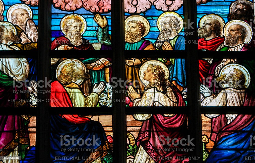 Stained Glass - The Twelve Apostles stock photo