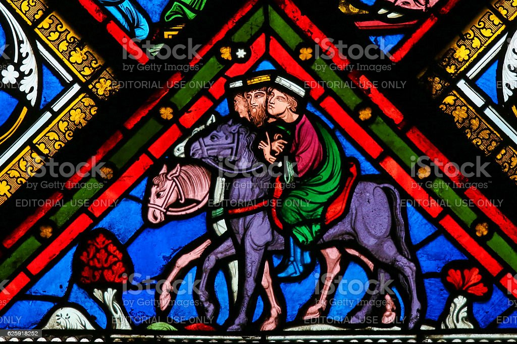 Stained Glass - Three Kings from the East stock photo