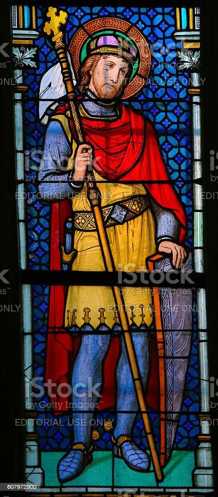 Stained Glass - Wenceslaus I, Duke of Bohemia stock photo
