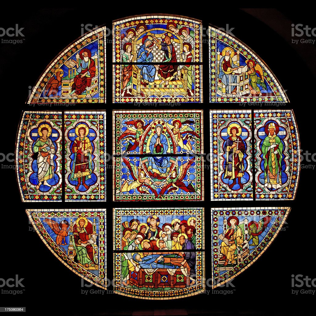 Stained Glass Window at Siena Cathedral stock photo