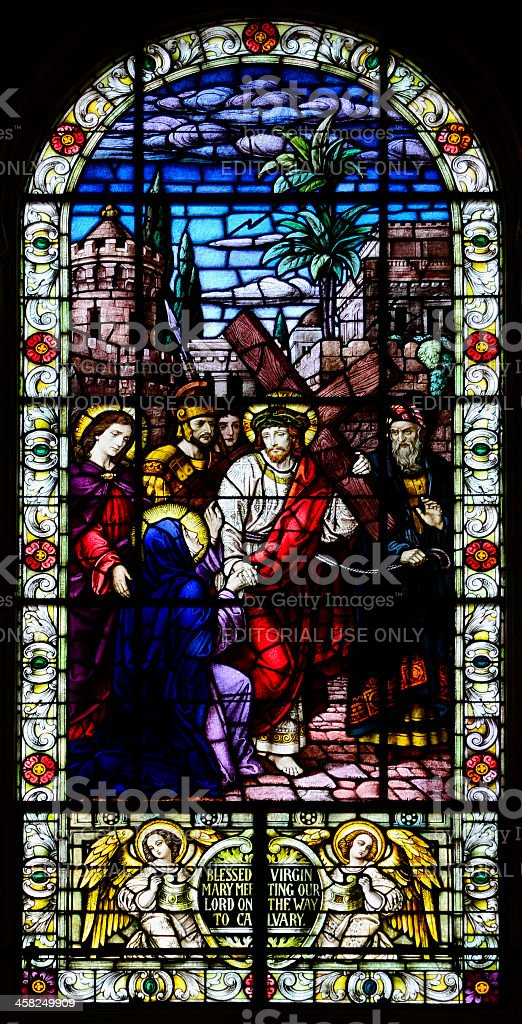 Stained Glass Window - Christ on His way to Calvary royalty-free stock photo
