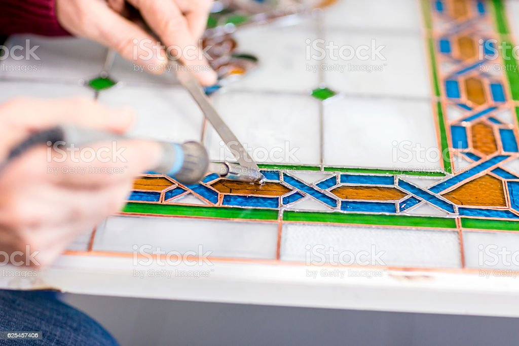 Stained Glass Window Construction stock photo