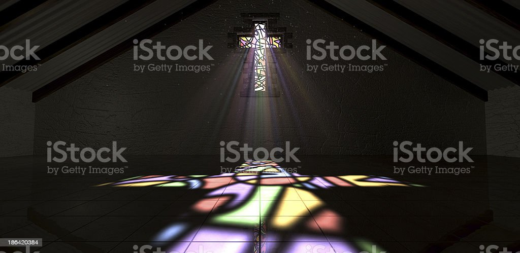 Stained Glass Window Crucifix Light Ray Color stock photo