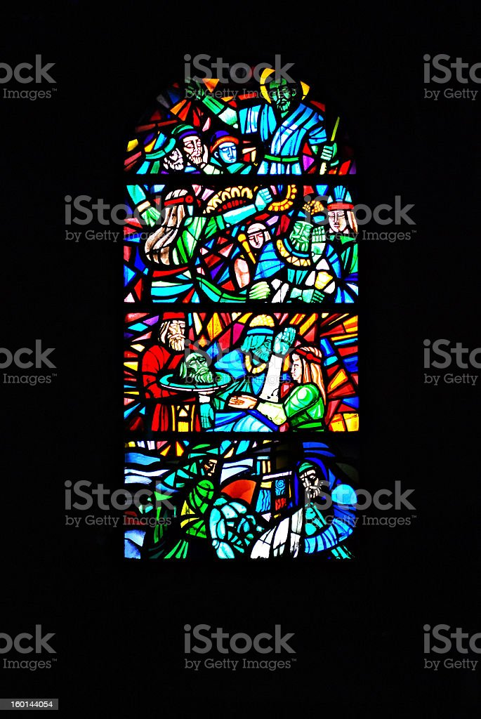 Stained Glass Window Depicting Bible Scenes royalty-free stock photo