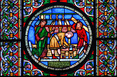 Stained glass window depicting the building of Noahs Ark