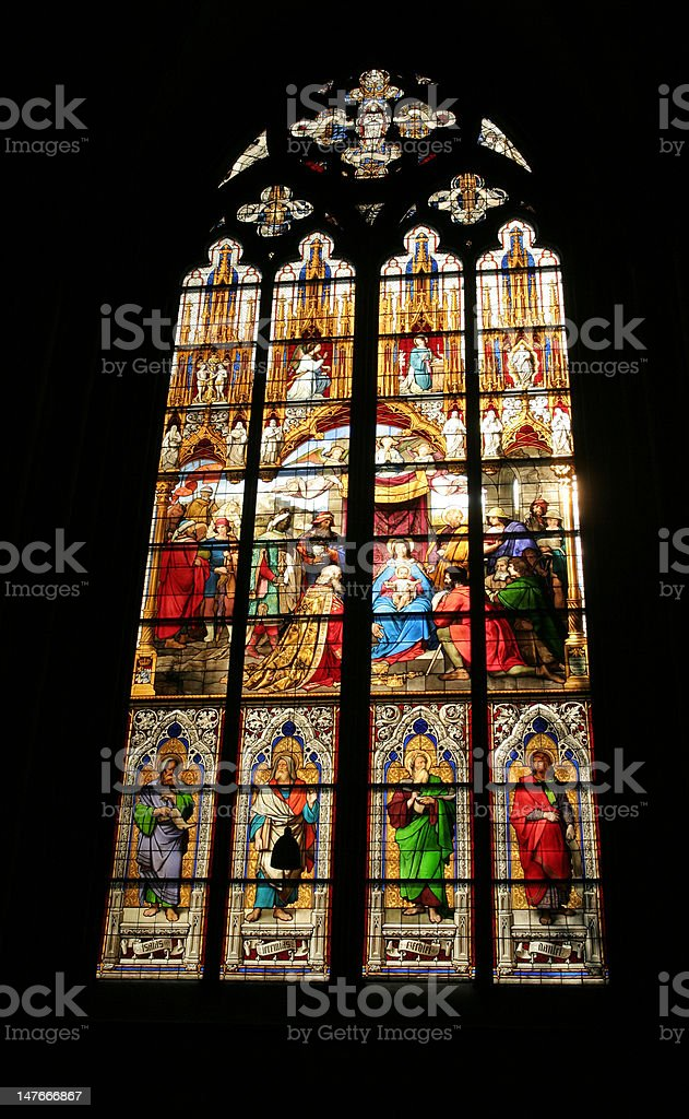 Stained glass window in a church royalty-free stock photo