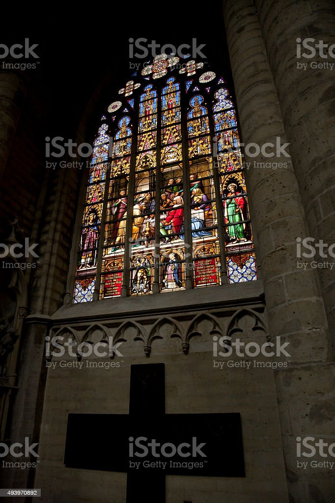 Stained Glass window in Cathedral of St. Michael and St. Gudula stock photo