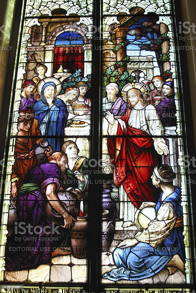 Stained glass window in Charleston church stock photo