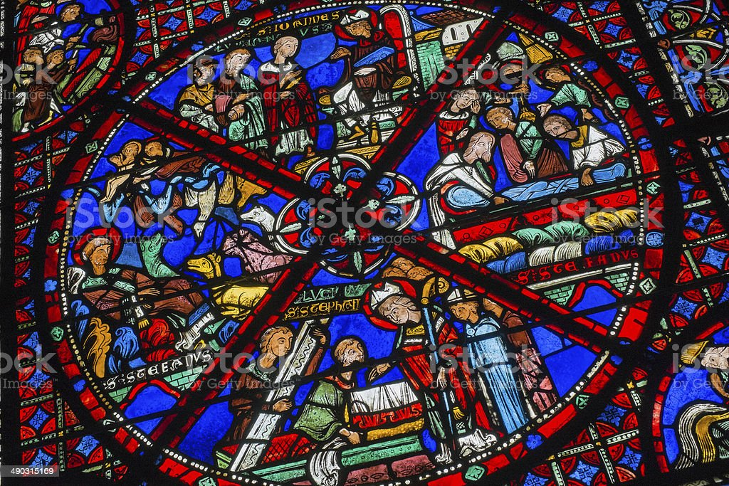 Stained Glass Window in Chartres stock photo