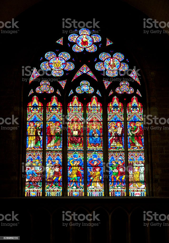 Stained glass window in church stock photo