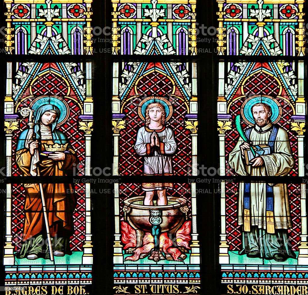 Stained glass window in the St. Vitus Cathedral of Prague stock photo