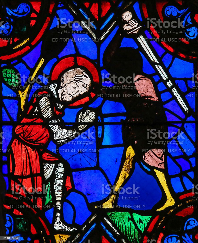 Stained glass window in Tours Cathedral stock photo
